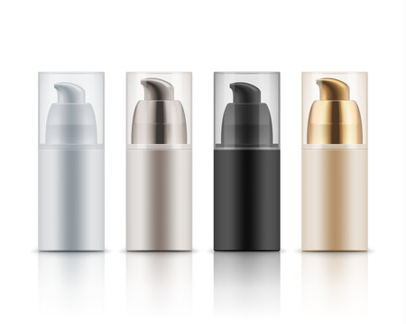 Mock up of plastic cosmetic bottles. Blank template of realistic package of gel or foam for shave, care cream. Vector illustration isolated on white background. White, black, beige and golden colors