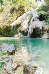 The children are swimming at beautiful Koh Luang waterfall in Thailand,summer season