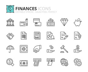 Outline icons about finances