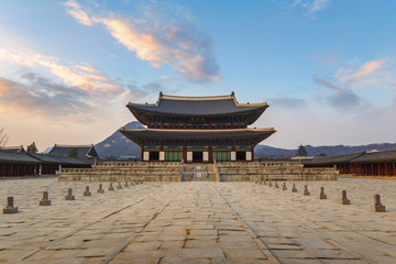 Gyeongbokgung Palace when sunset, Seoul, South Korea
