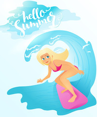 Vector illustration of detailed flat blonde surfer girl riding on surfboard by the sea wave with lettering - hello summer