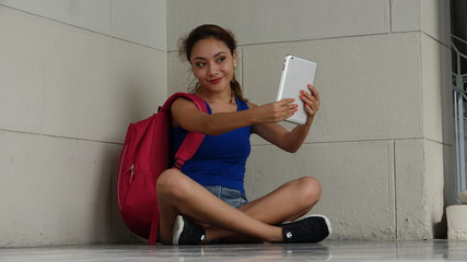 Female Student Selfie With Tablet