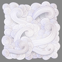 Tangled pattern, waves background. Abstract hand-drawn ornament, illustration