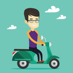 Man riding scooter vector illustration.
