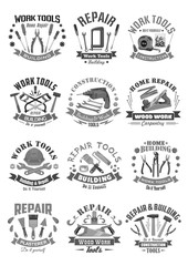 Building and construction work tools vector icons