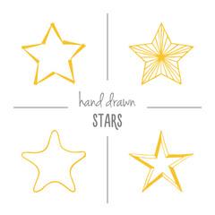Set of yellow hand drawn stars.