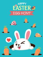 Vintage Easter Egg poster design with Easter rabbit