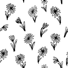 Black and white floral seamless pattern. Vector