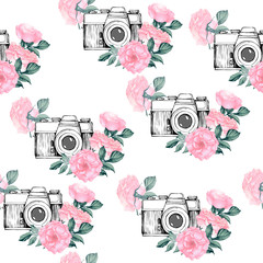 Photo pattern with white background. Hand drawn seamless texture with Vintage retro photo camera in flowers, leaves, branches on white background. Hand drawn Vector