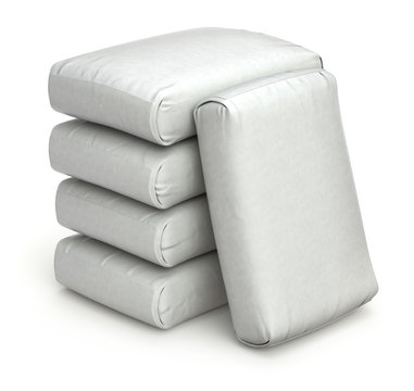 Stack of white bags on white background