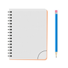 Vector notebook with a blue pencil on a white background