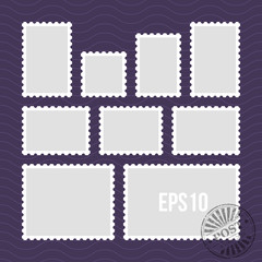 Postage stamps with perforated edge and mail stamp vector template