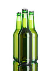 The bottle of beer on the white softbox background and mirror table. 3D rendering mockup