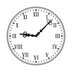 Clock face with roman numerals. Black flat drawing on white background