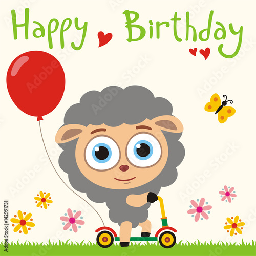 Happy Birthday Funny Sheep Going On Scooter With Red Balloon