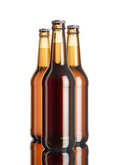 The bottle of beer on the white softbox background and mirror table.3D rendering mockup