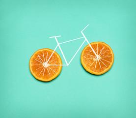 Healthy lifestyle concept - bike with orange wheel