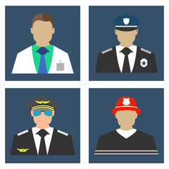 Doctor, Fireman, Policeman, Pilot portrait logo and icon. Flat Vector illustration.