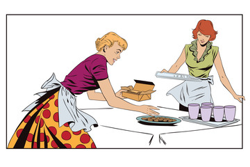 Girls in kitchen serve the table. Stock illustration. People in retro style.