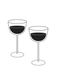 Cartoon tall wine glasses on the white background. Cartoon raster wineglasses