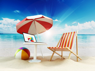 Beach umbrella, sunbed, ball and laptop by the seashore. 3D illustration
