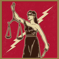 Vintage propaganda poster and elements. Retro Clip art of lady justice Themis holding scales balance and knife. Isolated artwork object. Suitable for and any print media need.
