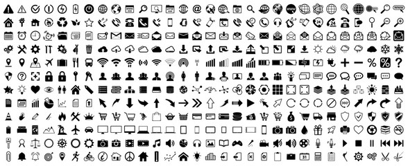 Black web icons set