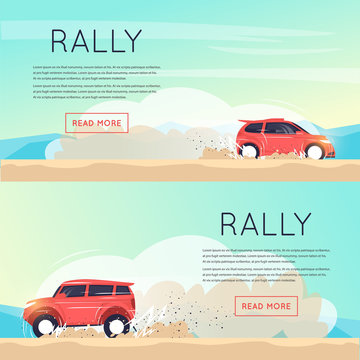 Rally car. Banners. Flat vector illustration in cartoon style.