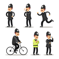 English Policeman Cartoon. Police Officer. Vector illustration