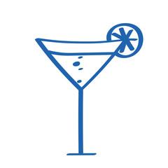 Handgezeichneter Cocktail in dunkelblau