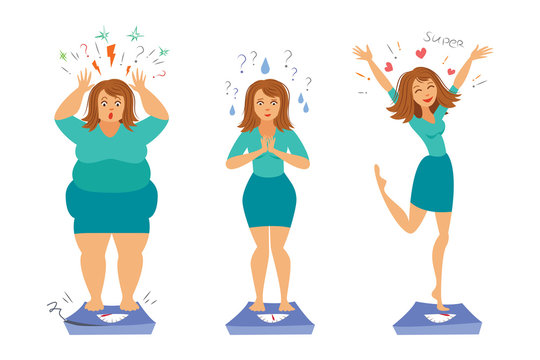 Fat and slim girls. Sadly thick woman and happy slender woman. Before and after. Weight loss concept. Vector illustration.