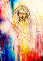 drawing of beautiful contemplative woman face with flying phoenix bird on abstract background.