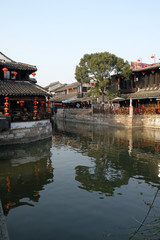 The Chinese architecture and buildings lining the water canals to Xitang town in Zhejiang Province, China