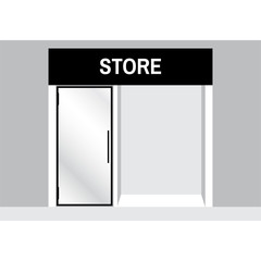 Shop front or store  view with sale sign vector illustration.