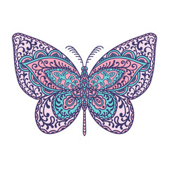 Butterfly. Animals. Hand drawn doodle insect. Ethnic patterned vector illustration. African, indian, totem, tribal, zentangle design. Sketch for adult coloring page, tattoo, posters, print or t-shirt.