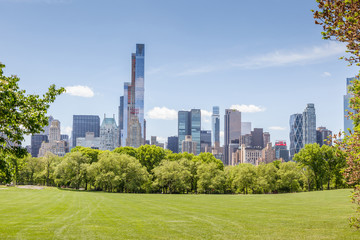 Manhattan skyline view from Central park in New York.