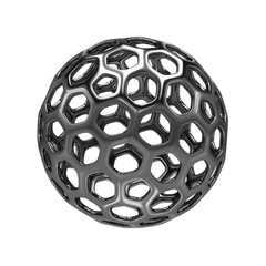3d Rendering abstract hollow sphere on white background