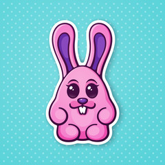 Vector illustration. Cute Easter rabbit egg girl. Ester symbol bunny. Sticker in cartoon style with contour. Decoration for greeting cards, patches, prints for clothes, badges, posters, emblems