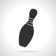 Vector illustration. Silhouette of one bowling pin. Sports equipment. Patterns elements for greeting cards, wallpapers