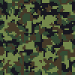Digital pixel camouflage seamless texture pattern set. Green camouflages. Vector fabric textile print designs.