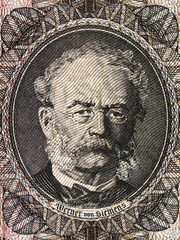 Werner von Siemens portrait from old German money