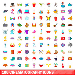100 cinematography icons set, cartoon style