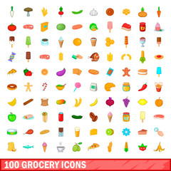 100 grocery icons set, cartoon style
