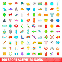 100 sport activities icons set, cartoon style