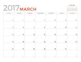 2017 Calendar Planner Vector Design Template. March. Week Starts Sunday