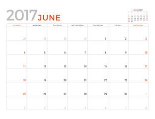 2017 Calendar Planner Vector Design Template. June. Week Starts Sunday