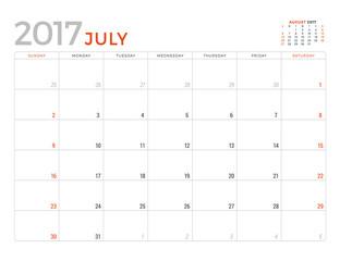 2017 Calendar Planner Vector Design Template. July. Week Starts Sunday