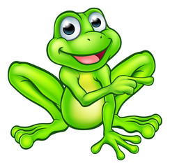 Cartoon Frog Pointing