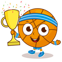 Champion cartoon basketball holding trophy