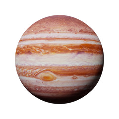planet Jupiter isolated on white background (3d illustration, elements of this image are furnished by NASA)